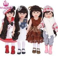 Ucanaan 45 cm/18 pollice american girl bambola fatta a mano in plastica morbida reborn baby toys ragazza dolls per i regali del capretto