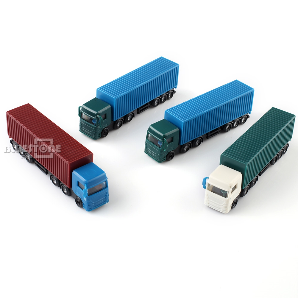 NEW 4PCS 1:100 HO Scale Plastic Container Colorful Truck Model Cars Toys Railway