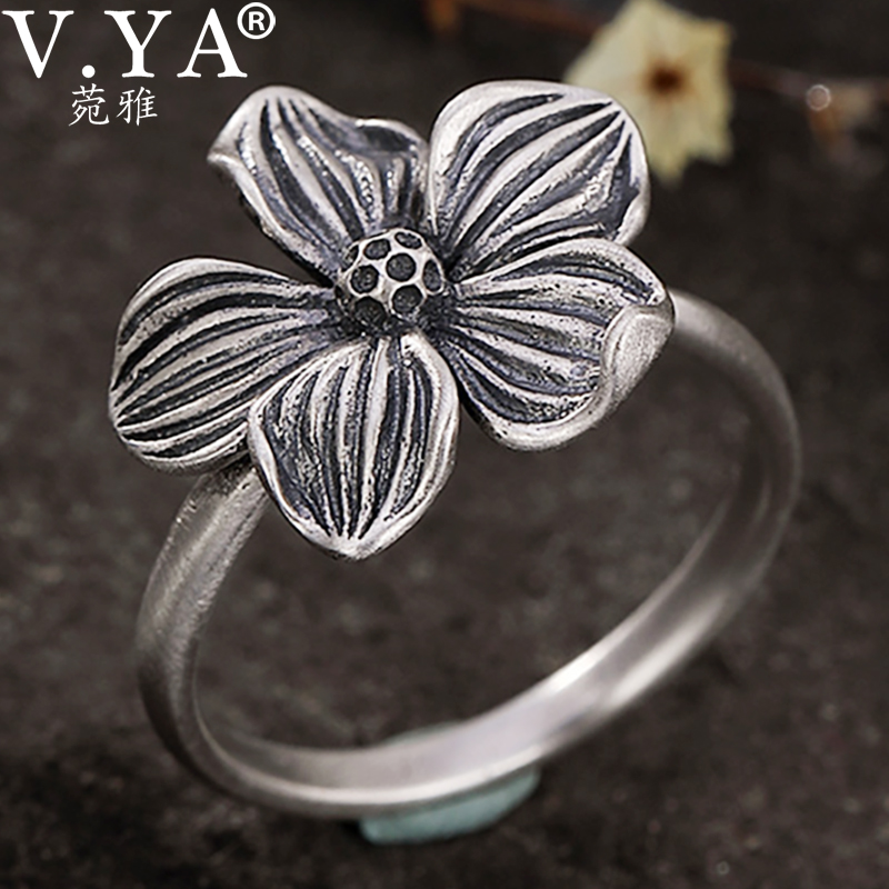 V.YA Real 925 Sterling Silver Rings Vintage Flower Ring 100% S925 Solid Silver Ring For Women Jewelry Retro Silver Rings