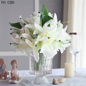 Искусственные цветы, искусственная лилия, искусственные цветы в декоративных горшках, 14 цветов