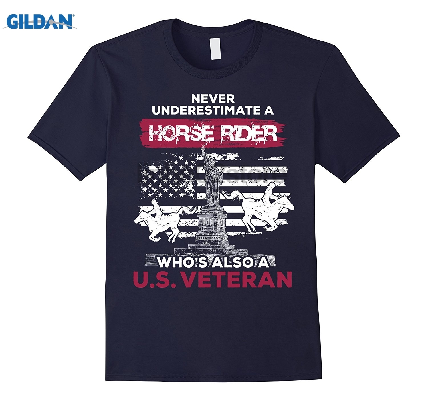 GILDAN Never Underestimate A Horse Rider Whos Also A U.S.Veteran S Dress female T-shirt Womens T-shirt