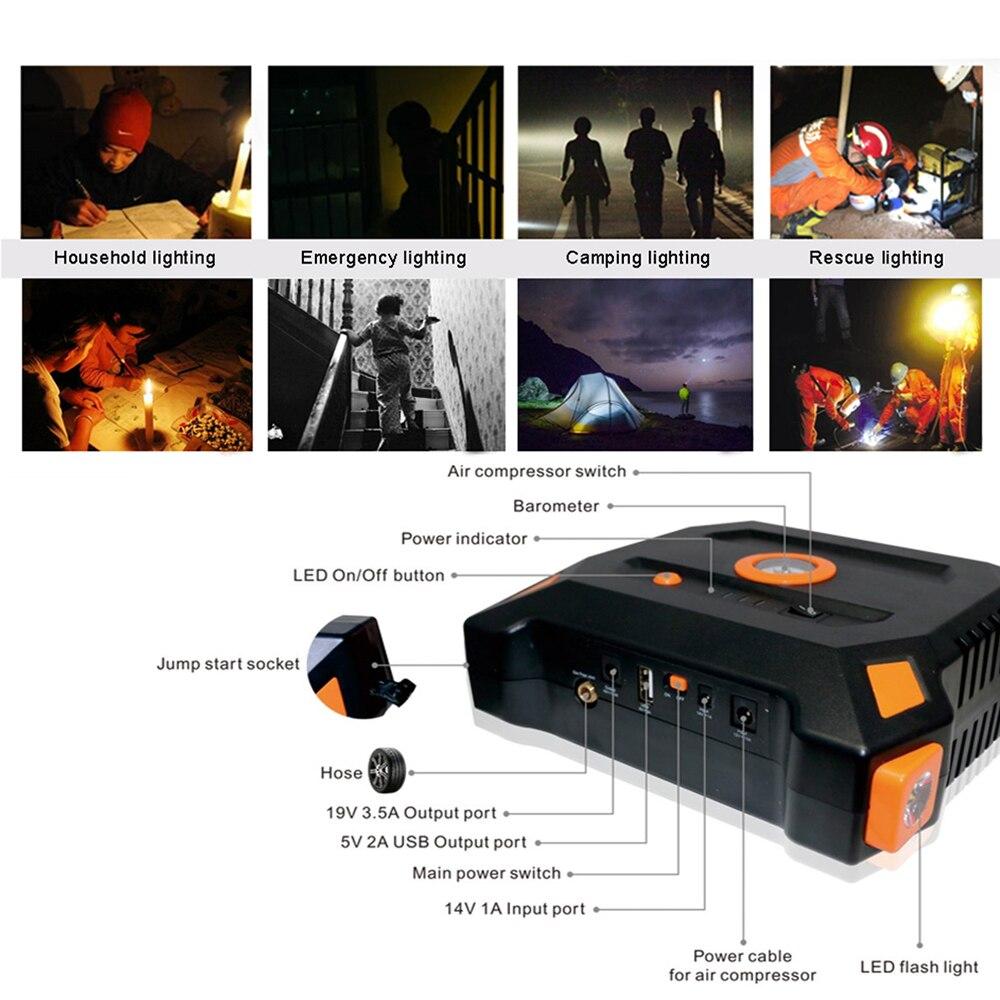 12 V 82800 mAh Portable Démarreur Voiture De Saut Avec Haut-Compresseur D'air Sortie USB Batterie Banque D'alimentation Multifonction Chargeur De Voiture