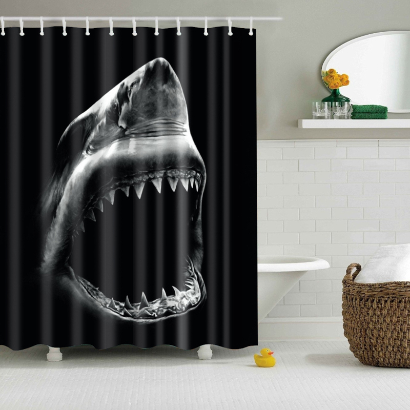 3d Printing Waterproof Fabric Shark Shower Curtain With Hooks  In Shower  Curtains From Home U0026 Garden On Aliexpress.com | Alibaba Group