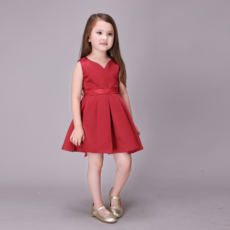 Image 3 - Girls Wedding Dress 2017 Sleeveless Fashion Bridesmaid Child Baby Red Dress Girl  2  10 11 12 13 Years Olds Spodnica-in Dresses from Mother & Kids on AliExpress