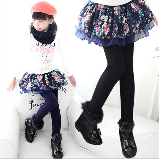 Girl Warm Winter Flower Skirt-Pants