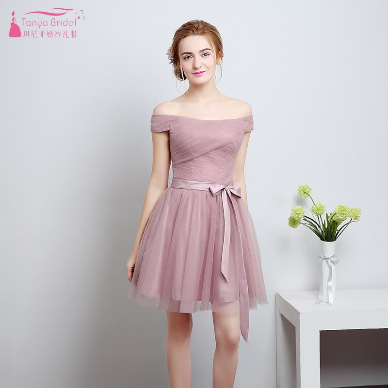 Dusty Pink A Line Short Tulle Bridesmaid Dresses Cheap Discount Simple Wedding Party Dress Gown Formal Women Dress JQ94