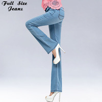 Summer Spring Plus Size Thin Slim Fit High Waist Flare Jeans 4XL 5XL Light Blue Denim Trousers Stretch Skinny Bell-Bottom Pants