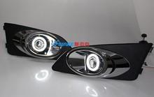 DRL COB angel eye + halo nebelscheinwerfer + E13 projektor objektiv + schwarz nebellampenabdeckung + überzug trim für chevrolet sonic aveo, 2 stücke