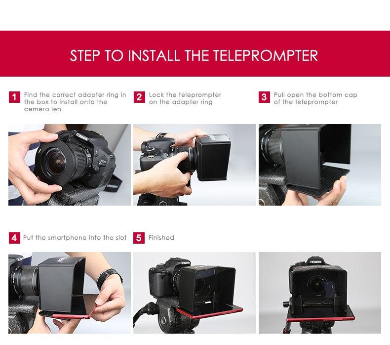 Bestrëtt High Definition Smartphone Teleprompter Video DSLR fir Canon Nikon Sony Kamera Youtube Photo Studio Interview TV Station