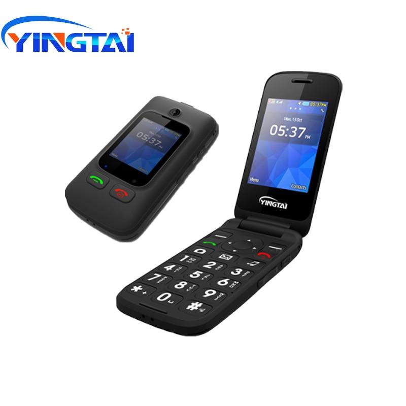 YINGTAI T22 GSM MTK grand bouton poussoir téléphone senior double SIM double écran Flip téléphone mobile pour aîné 2.4 pouces téléphone portable à clapet