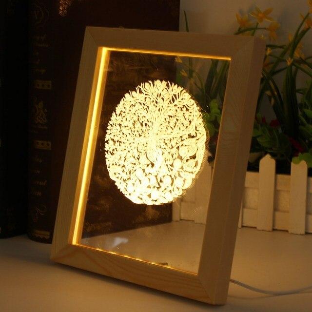 3D Marco de Fotos Iluminativa LED Luz de La Noche de Hogar Lámpara ...