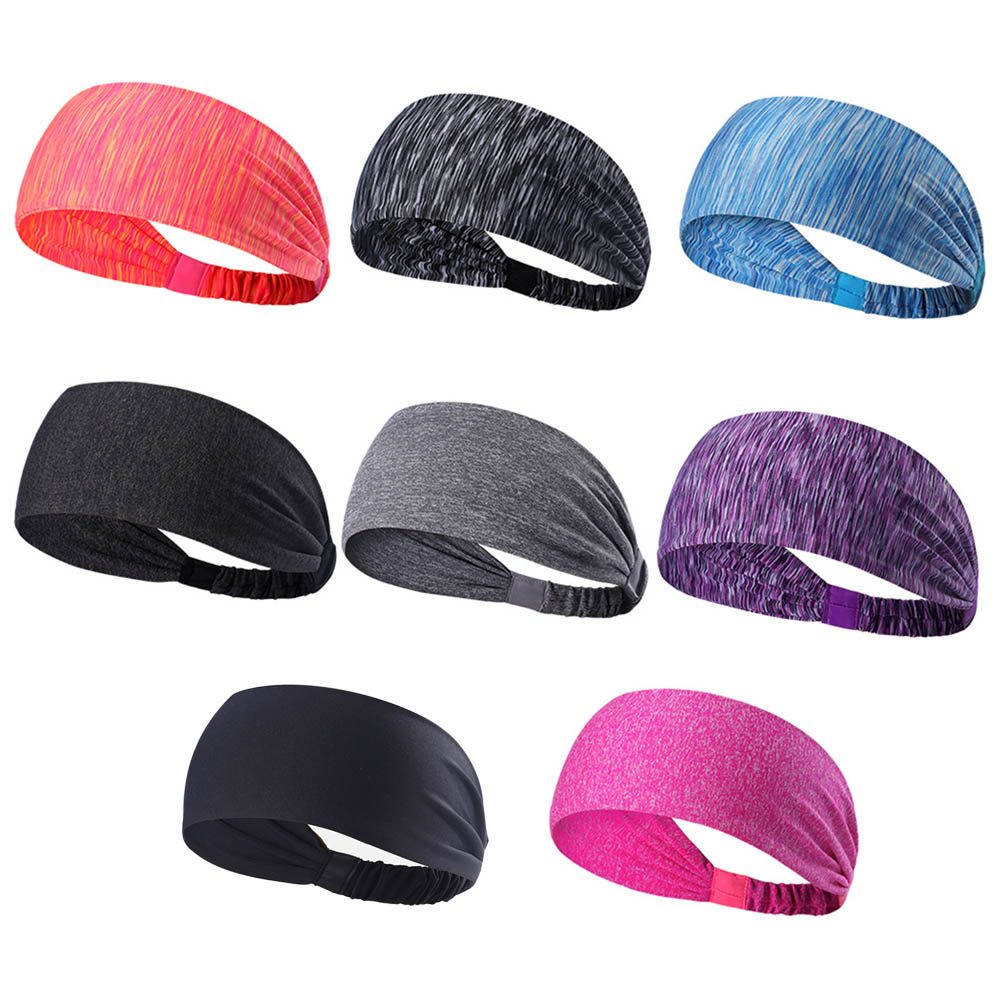 New Elastic Sport Headband Fitness Yoga Sweatband Outdoor Gym Running Tennis Basketball Wide Hair Bands Athletic Men Women nv print nv print 01604
