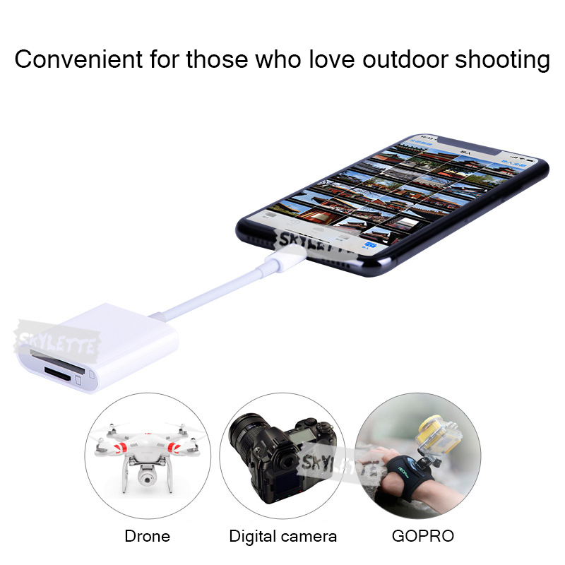 ipad iphone Camera SD TF Card Reader OTG Lightning SLR Kit No APP Need Data Connect Cable 2 in 1 Card Reader for iPhone iPad iOS9.2-12 (5)
