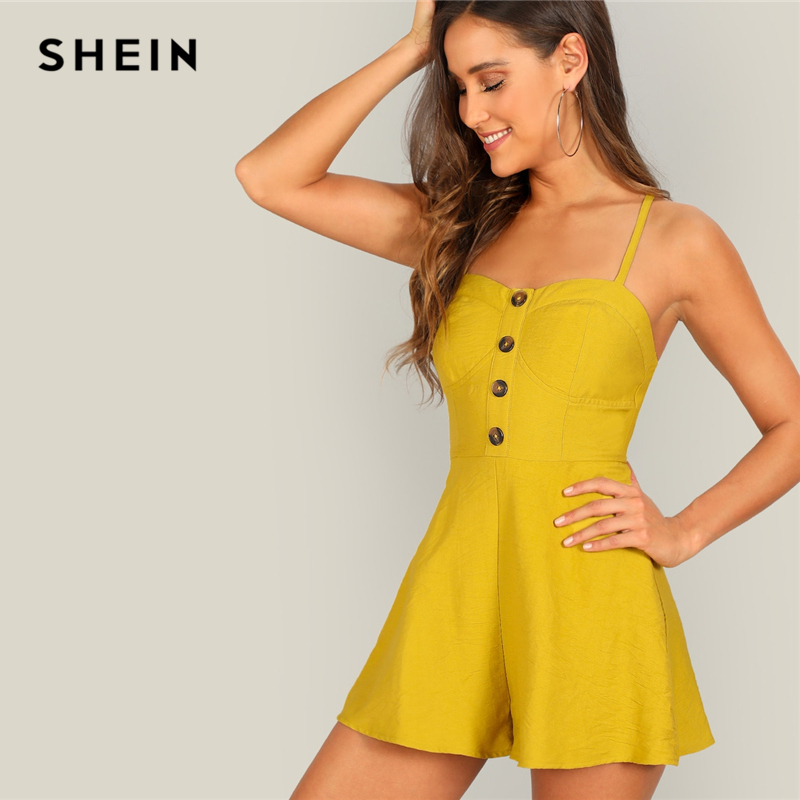 Dynamic Shein Yellow Crisscross Back Button Front Cami Romper Elegant Women Spring Spaghetti Strap High Waist Sleeveless Romper Numerous In Variety