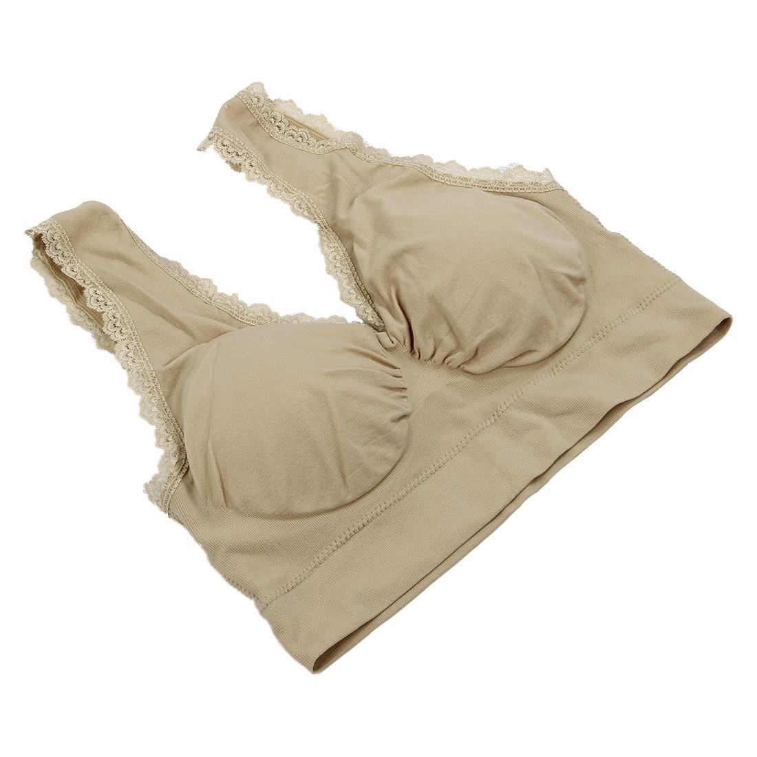 Womens Sports Bra Padded Lace Bra Brassiere Gym Yoga Athletic Vest (XL, skin color)