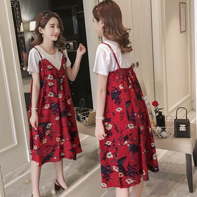 Dress Set Maternity Clothes Floral simple Maternity Chiffon Dress Stylish  Dress for Pregnant women Pregnancy Clothes 94d37523f2c0