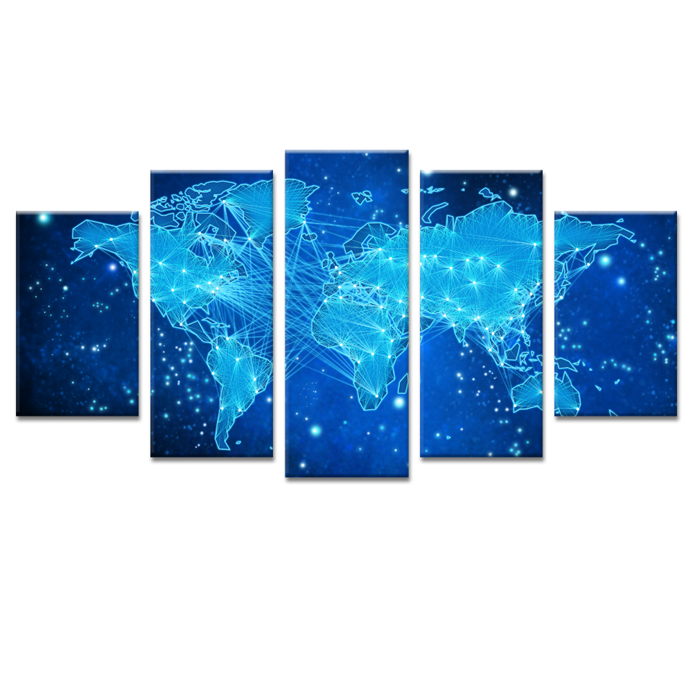 Animation wall art the galaxy world map print canvas split paintings animation wall art the galaxy world map print canvas split paintings 5 panel poster picture for living room home decorative in painting calligraphy from gumiabroncs Image collections