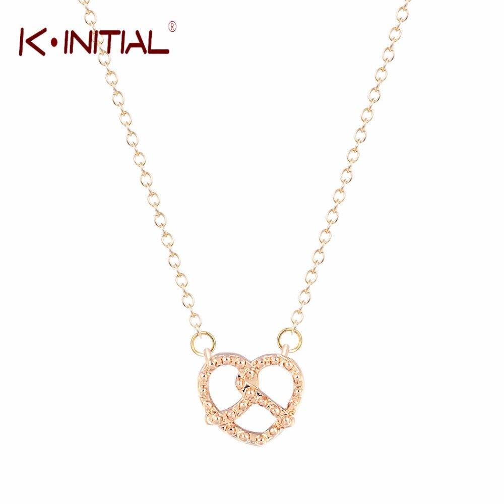 d89b773d348d Kinitial 1 unids oro plateado punteado pretzel amor nudo collar Cruz  Colgantes Collares para las mujeres de moda collar de la joyería
