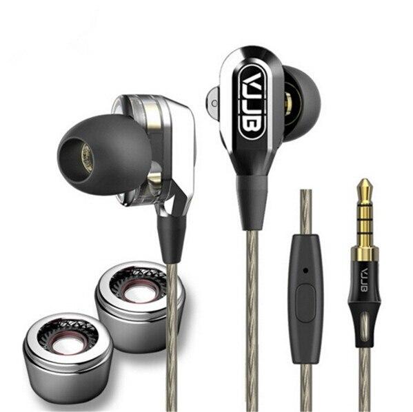 Nuevo 4 altavoces subwoofer de alta fidelidad de doble controlador del monitor auriculares profundo bass auriculares de metal en la oreja los auriculares auriculares vjjb v1 v1s