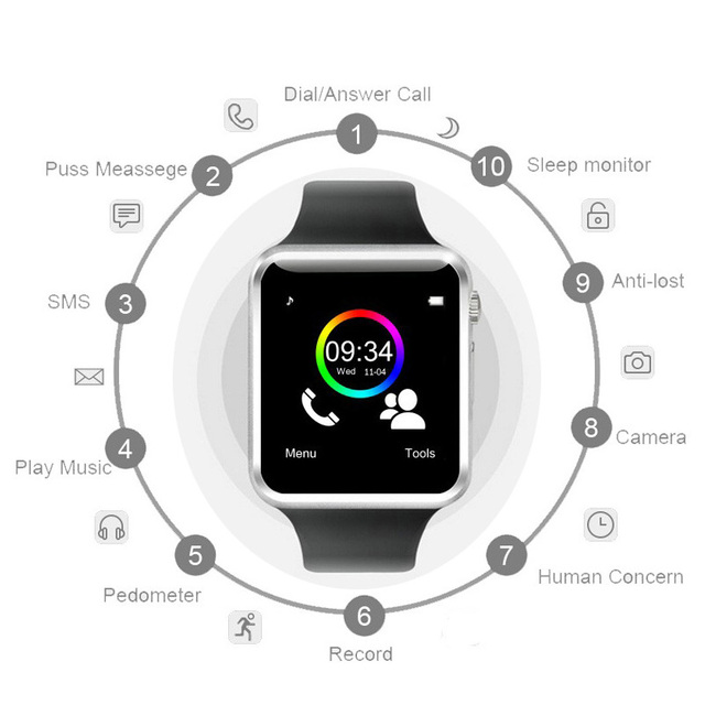 A1 Smart Watch Bluetooth WristWatch Sport Pedometer with SIM Card Passometer Camera Smartwatch For Android Better Than GT08 DZ09 3