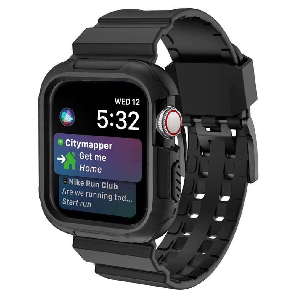 Apple Watch Series 5 4 Wrist Band 40mm 44mm Silicone Strap with PC Protect Case for iWatch Bracelet Sport Shockproof Belt