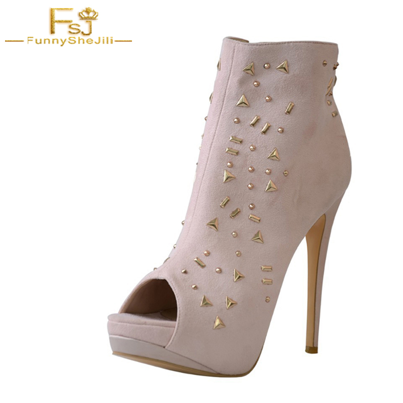Superstar Shoes Top Quality Light Purple Ankle Open Toe Buckle Boots Women 10cm High Heels Clogs Rivet Botas Shoes Size 4-16 romyed bridals wedding shoes kim kardashian pumps superstar shoes top quality flowers evening christian shoes size 4 16 shofoo