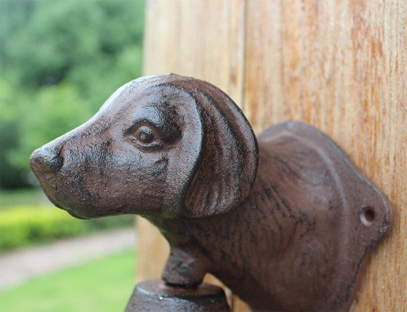 Винтажная чугунная Собачья голова Добро пожаловать обеденный звонок настенное крепление дверной звонок двухсторонний Кантри Металлический висящий колокольчик животный домик ферма - 4