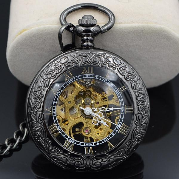 Steampunk Skeleton Male Clock Transparent Mechanical Open Face Retro Ver Vintage Pendant Pocket Watch W/Chain Luxury Timepiece