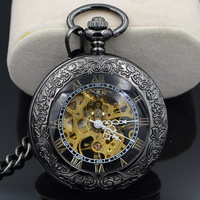 Steampunk Skeleton Male Clock Transparent Mechanical Open Face Retro Ver Vintage Pendant Pocket Watch W Chain