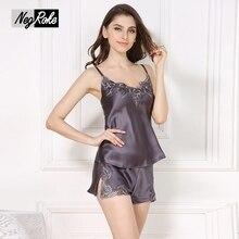 Summer 100% silk sleeveless spaghetti strap sexy black pajamas sets quality elegant silk sleepwear for women silk shorts pyjamas