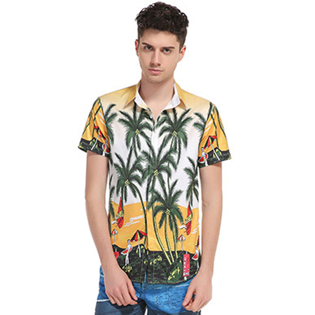 Fashion Designer 2017 New Men Hawaiian Shirt 3d Palm Trees