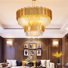 купить American Crystal Chandelier LED Modern Gold Crystal Chandeliers Lighting Fixture Home Indoor Light Hotel Lobby Living Room Lamps дешево