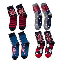 2017 New Socks Men Male Striped National Flag Stars Pattern Dress Wedding Crew Business Sox Designer Brand Skate Hip Sock Autumn