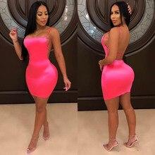 eDressU Sexy Club Hot Pink Dress Sheath Bodycon Straps Open Back Cocktail Party Nightclub Pub Wear MS-DZT958