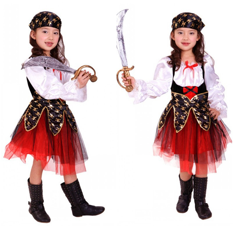 M-XL Fancy Girls Sailor Pirate Cosplay Kids Halloween Costumes Children's day Carnival Purim Stage performance play Party dress