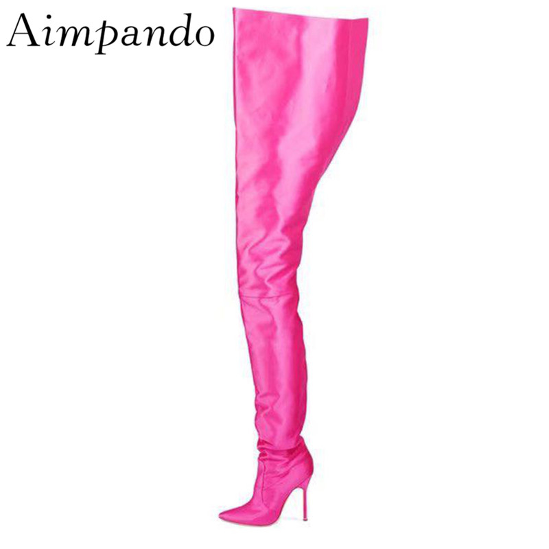Пикантные сценические Женские Сапоги выше колена, с острым носком, на шпильке, для ночного клуба, Botas Mujer