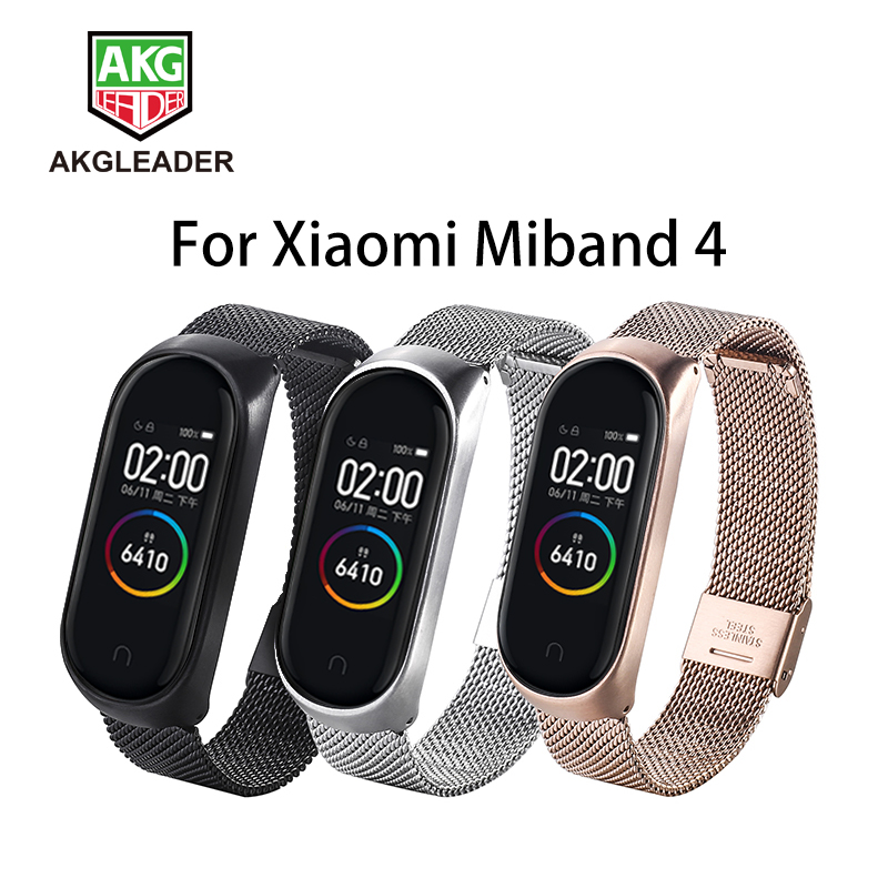 Akgleader For Xiaomi Mi Band 4 3 Strap Milanese Bracelet Stainless Steel Smart Watch For Xiaomi Miband 3 2 Newest Wrist Miband 4 Watchbands Aliexpress