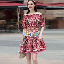 7144949e62 2018 Designer de Pista Vestido de Verão das Mulheres Moda Elegante Sexy Off  The Shoulder Barra Neck Floral Impresso Vestido Curt.