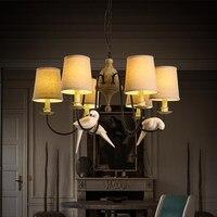 Творческий смолы птица Droplight ткань лампы Тенты led подвесные светильники Обеденная Ретро подвесной светильник Освещение в помещении