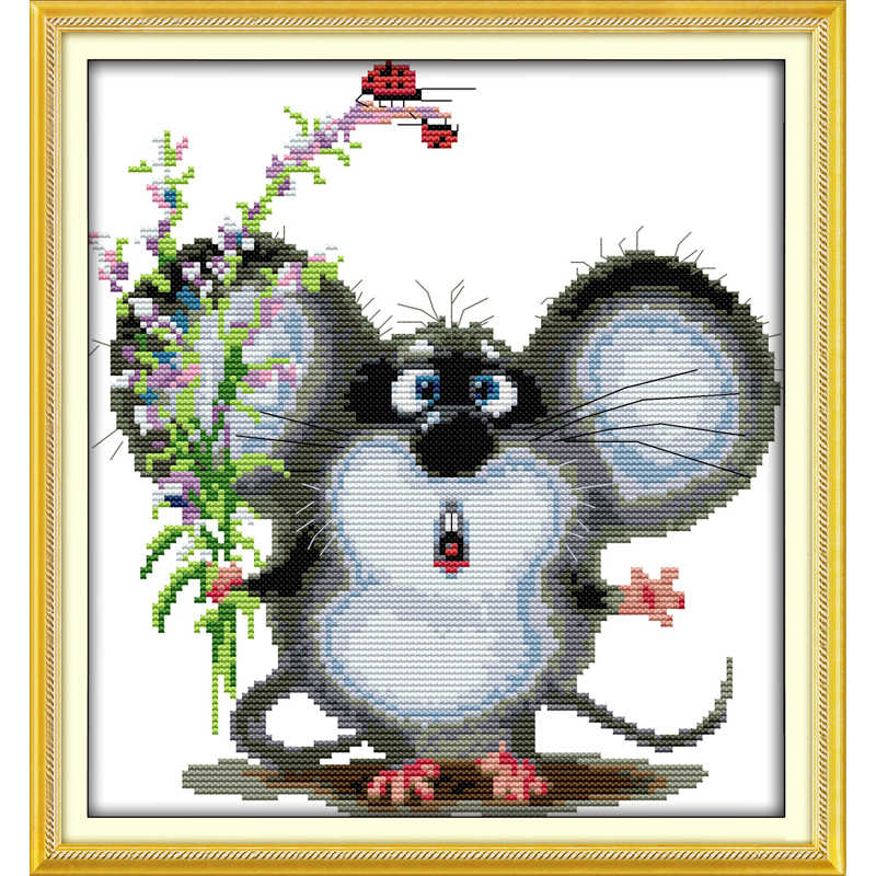 Everlasting love Big-eared mouse Chinese cross stitch kits  Ecological cotton stamped 14 11CT DIY  new year decorations for home