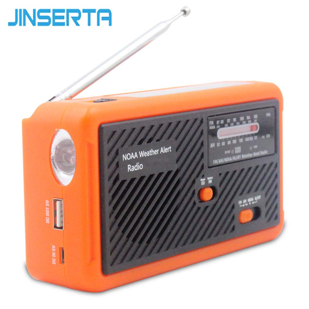 JINSERTA AM/FM Solar Radio Emergency Hand Crank NOAA/ALERT Weather Radio with LED Flashlight Spupport Mobile Phone Charging protable am fm radio hand crank generator solar power radio with flashlight 2000mah phone charger