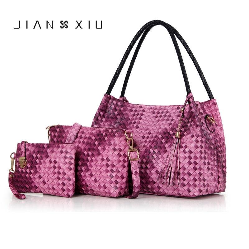 Women Set Women Handbag Of 3 Pcs Messenger Ladies Crossbody Women Clutch Purse Weave Pattern Composite Bag Tote Shoulder Bags
