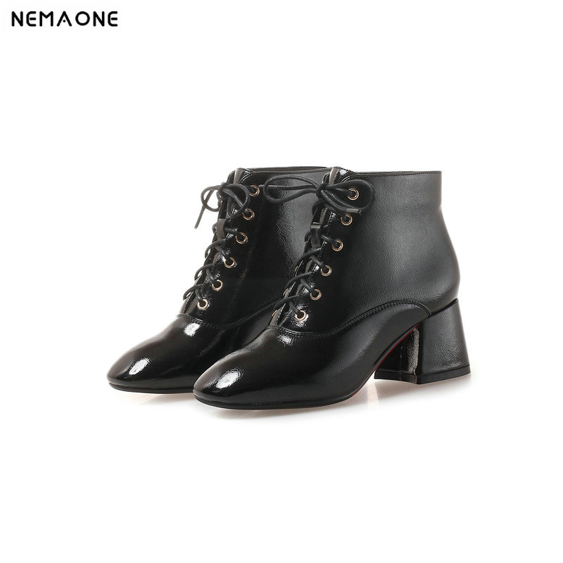 NEMAONE high Heels Ankle women Boots lace up casual women shoes autumn winter boots for ladies Black Red beige large size 43 2018 new fashion ankle boots autumn winter women boots high heels boots lace up women shoes large size 34 43