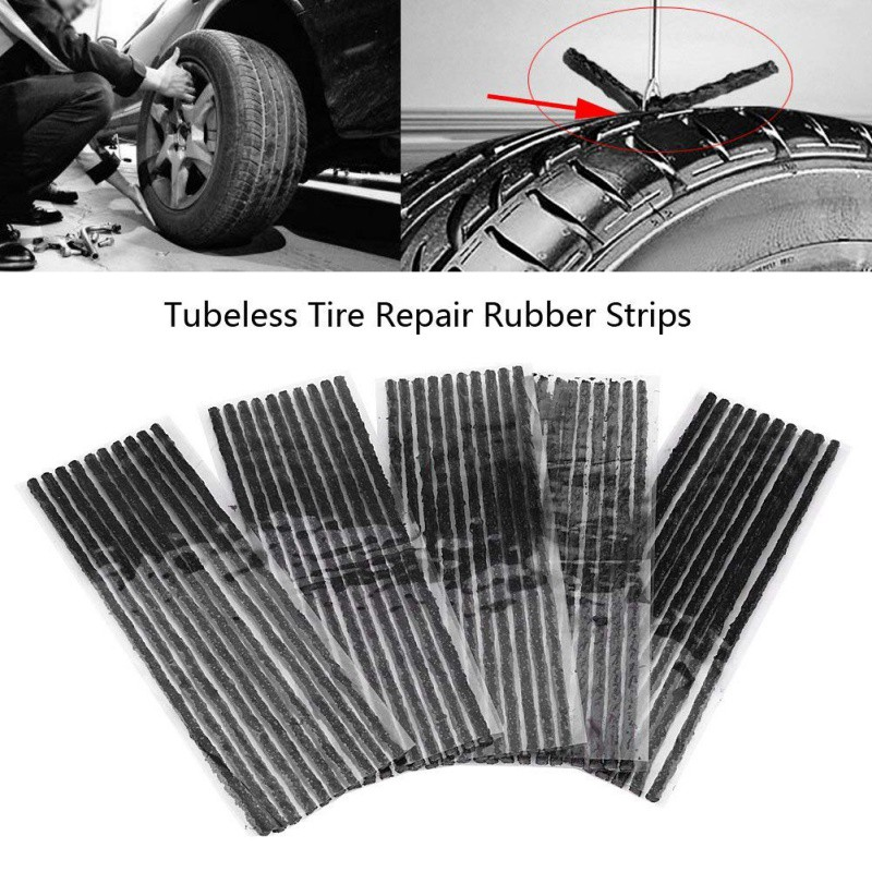 50pcs Car Bike Tyre Plug Tubeless Tire Seal Strips Puncture Repair Recovery Tool