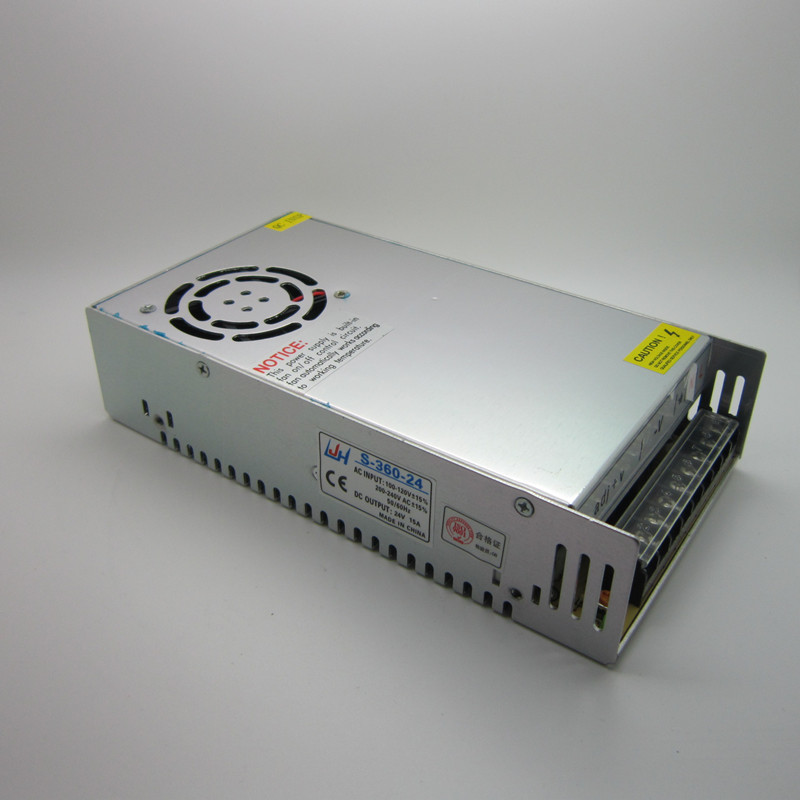 Best quality 24V 15A 360W Switching Power Supply Driver for LED Strip AC 100-240V Input to DC 24V15A free shipping цена