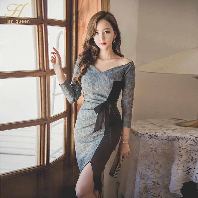 H Han queen, новое осеннее лоскутное клетчатое платье, деловые тонкие вечерние платья с v-образным вырезом для работы, сексуальная туника с бантом, облегающее платье-футляр, повседневные платья-карандаш