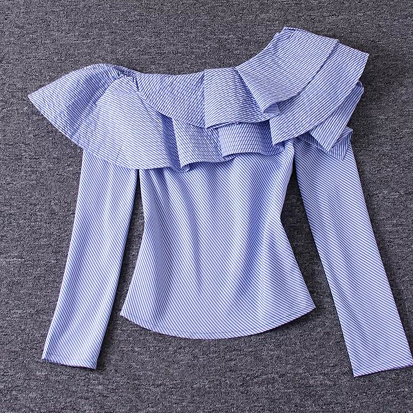 2adb712988a2d HIGH QUALITY Newest 2018 Designer Blouse Women s One Shoulder Ruffles  Striped Casual Blouse Top-in Blouses   Shirts from Women s Clothing on  Aliexpress.com ...