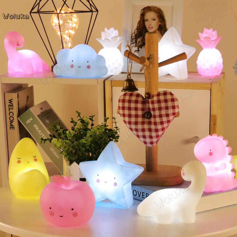 3pcs Small gift cute smiling face clouds star Moon soothing glowing night lamp baby accompany sleeping toys CD50 W02