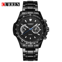 CURREN Watches Mens Quartz Fashion Casual Display Black Stainless Full Steel Strap Relogio Male Clock Men