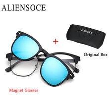 Фотография Fashion Polarization Lens Men Eyeglasses Half Frame TR Frame Magnet Clip Glasses Women Myopia Glasses Frame UV400 Sunglasses